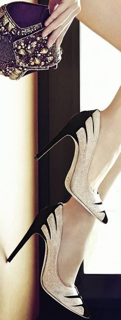 black and silver sparkle heels