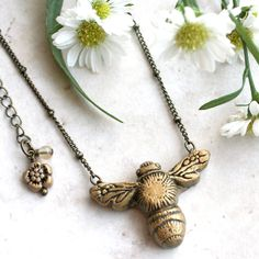 Sculpted Bee Necklace, Bumblebee Pendant, Honey Bee Jewelry, Hand Carved, Insect Charm, Nature Necklace, Honeybee Pendant, Insect Jewellery by GwydionsGarden on Etsy