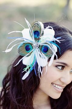 Peacock Feather Flower Fascinator White Rhinestone Wedding Bridal Vintage Turquoise Blue Green - Style Me Pretty