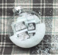 Flattened globe ornament shape with 'Buffalo Snow' inside. Photo Christmas Tree, Christmas Crafts, Christmas Ornaments, Christmas Stockings, Xmas, Baby Sonogram, Ultrasound, Baby Announcement To Parents, Pregnancy Announcements