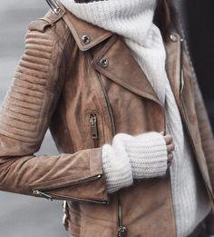 leather jacket + white sweater