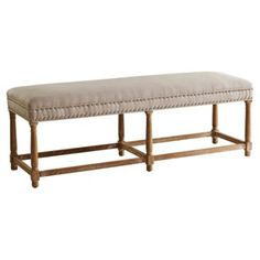 """Check out this item at One Kings Lane! Cornelia 56"""" Linen Bench, Beige"""