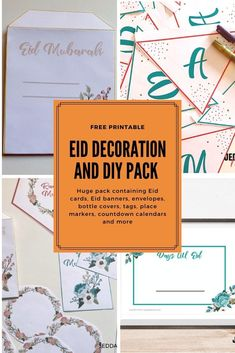 Eid Mubarak Decorations and DIY pack. It's a huge pack containing Eid cards, Eid banners, envelopes, bottle covers, tags, place markers, countdown calendars and more Ramadan Tips, Ramadan Activities, Activities For Kids, Diy Eid Decorations, Eid Envelopes, Eid Banner, Muslim Holidays, Eid Gift, Ramadan Greetings