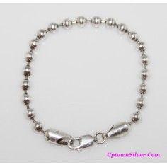 Silpada Italy Artisan Jewelry 5 MM 925 Sterling Silver Ball Bead 7 Inch Wrist Bracelet Retired Rare