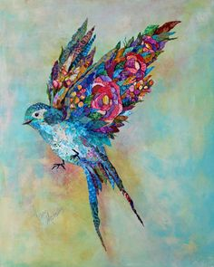 Botanical Sparrow by Lisa Morales Mixed Media