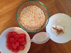 2oz Puffed millet, fresh ginger/ mint.  2tbsp Chia seeds soaked overnight under millet)  6oz Watermelon  8oz Goats yogat (and cinnamon) / Rice milk