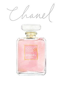 Coco chanel perfume watercolor painting..