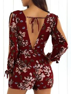 V-Neck Backless Print Romper