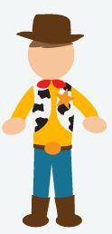 DIY Halloween Costume: Woody from Toy Story - You will need: jeans, cowboy boots, yellow button up, red handkerchief to wear around your neck, cowboy hat and a brown vest.
