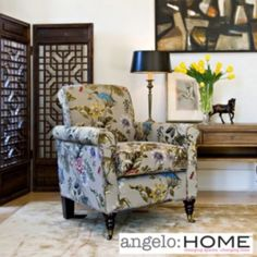 The angelo:HOME Harlow chair combines modern design with traditional details. The Harlow chair features a slightly rounded arm and is covered in an antique floral bird fabric.