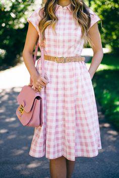 Pink Check Dress by Eliza J and Miu Miu Bag