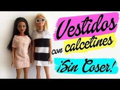 DIY Cómo hacer un Vestido con un Calcetín para Barbie ¡Sin Coser! Ropa para muñecas - YouTube