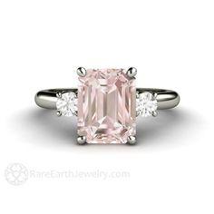 2CT Morganite rose bague Morganite Engagement bague par RareEarth