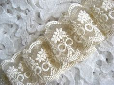 ivory lace trim embroidered lace bridal lace by WeddingbySophie