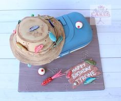 Tackle box Cake Fish Cake Birthday, Birthday Cakes For Men, Happy Birthday, Fishing Theme Cake, Cupcake Cakes, Cupcakes, Tackle Box, Take The Cake, Box Cake