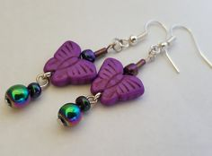 Purple butterfly earrings - Boho Chic Style - Bridesmaid gift, Mother's Day, Valentines Day, Anniversary, Birthday, gifts for her, OOAK gift by IpanemaGirlShop on Etsy
