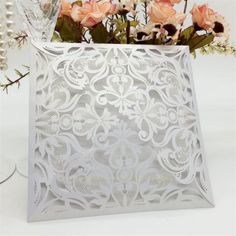Silver Floral 4 Fold Laser Cut Wedding Invites are elegant & intricate laser cut wedding invitations are perfect for a black tie reception. Laser Cut Invitation, Laser Cut Wedding Invitations, Wedding Stationery, Invites, Wedding Table Name Cards, Ireland Uk, Laser Cutting, Free Delivery, Purple