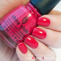China Glaze 'Seas The Day' ~ cool toned pink/red with a beautiful creme formula ~ glossy in two coats ~ swatch by Paulina's Passions