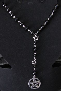 Black Rosary style necklace with stars and a by PirateKatsBooty, $20.00
