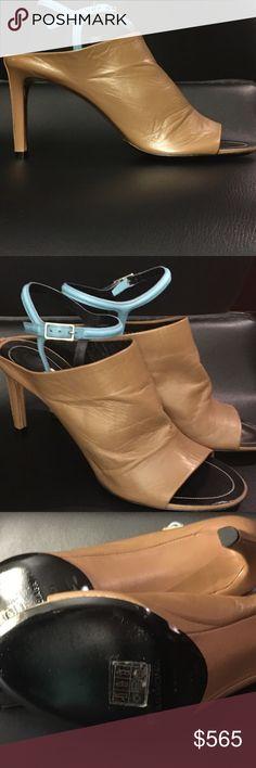 BALENCIAGA - GLOVE BICOLOUR Open toe, tan leather-covered high stiletto heel. Blue-leather ankle strap, silver-tone metal buckle-fastening. Black leather insole. Black leather sole. Made in Italy. Incredibly Sexy! Balenciaga Shoes Heels