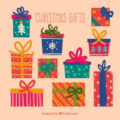 Colorful christmas gifts Free Vector