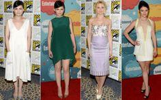 """As meninas de """"Once Upon a Time"""" - Ginnifer Goodwin, Jennifer Morrison e Emilie de Ravin - apostaram em vestidos clarinhos, puxados parao ca..."""