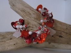 Chunky Red, Orange & White with White Sea Glass
