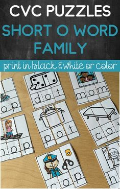 A fun activity that works on short O word families! Students will become familiar with encoding and decoding CVC words as they solve the puzzles. Great to use to work on letter sound correspondence! Perfect for literacy centers and centers! Perfect for preschool, kindergarten and first grade! Also has handwriting lines on them to help students understand the correct position of the letters. Primary Teaching, Teaching Phonics, Teaching Resources, Phonics Rules, Phonics Lessons, Word Work Activities, Spelling Activities, Just Right Books, Handwriting Lines