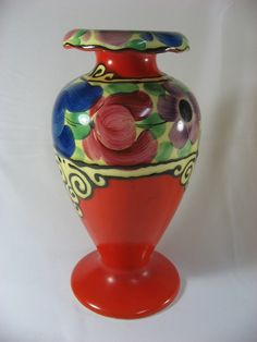 """7 3/4"""" Vintage Art Deco Vase - Erphila Art Pottery - Czech Slovakia"""