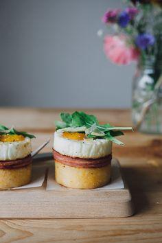 eggs benedict with polenta cakes