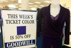 Get 50% off savings on purple tagged items now through 10/4 www.goodwillwny.org