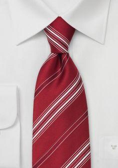 Gestreifte Krawatte mittelrot weiß
