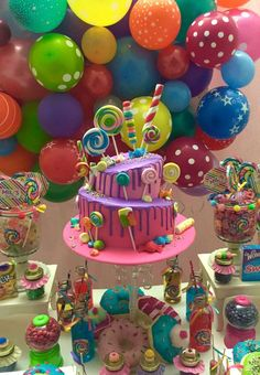 Erika Cool Party's Birthday / Candys - Mili's Sweet Shop at Catch My Party 1st Birthday Girl Decorations, Candy Theme Birthday Party, Candy Land Theme, Girls Birthday Party Themes, Girl 2nd Birthday, Candy Party, Candyland, First Birthdays, Party Ideas