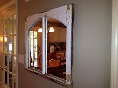 Check out our Holiday Sale - 10% Off- Vintage Farmhouse Style Window Frame Mirror by AsIsRepurposedItems, $150.00