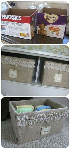 turn diaper boxes into cute storage crates