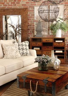 Before and After Living Room...totally loving the industrial farmhouse look.