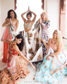 Diipa Khosla's Wedding Pictures. Love these bridesmaids pictures in Mani Jassal Lehengas and Sabyasachi saree. #Frugal2Fab