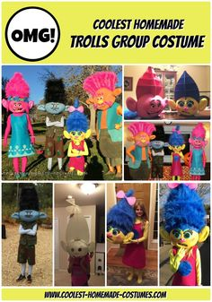 Coolest Homemade Trolls Costumes – What a Troll of a Family! Troll Costume, Scary Costumes, Group Halloween Costumes, Diy Costumes, Last Minute Costumes, Homemade Costumes, Character Costumes, Foam Crafts, Party Stores