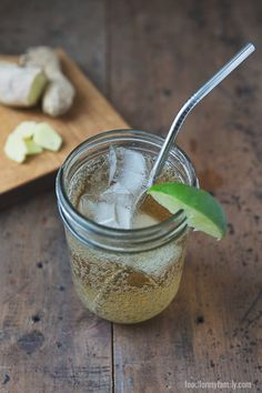 "Fight the ""forbidden fruit mentality"" -- not every fun drink is off limits in a real food world. Make your own homemade ginger ale recipe - you'll be blown away at how tasty and satisfying it is and reap the health benefits of fresh ginger, plus you're i Non Alcoholic Drinks, Fun Drinks, Yummy Drinks, Healthy Drinks, Cocktails, Beverages, Ginger Ale Recipe, Homemade Ginger Ale, Real Food Recipes"