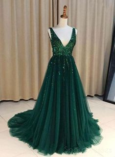 ddc0a8625e V Neck Emerald Green Tulle A line Long Custom Evening Prom Dresses