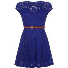 Mela Loves London Cap Sleeve Belted Lace Dress (87 BRL) ❤ liked on Polyvore featuring dresses, vestidos, 13. dresses., short dresses, blue, clearance, floral dress, blue lace dress, blue dress and shift dress