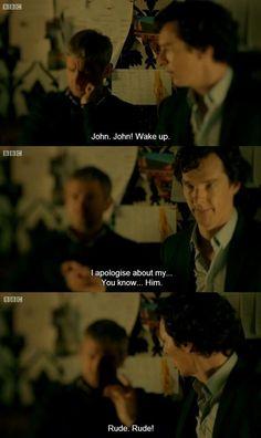 How often does Sherlock get to tell John he's being rude! Drunk Sherlock and John Sherlock Fandom, Sherlock Holmes, Drunk Sherlock, Sherlock Quotes, Sherlock John, Moriarty, Martin Freeman, The Science Of Deduction, Mrs Hudson