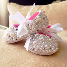 Pearl and Crystal Baby Booties / Crib Shoes by TheGlamBaby on Etsy