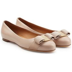 Salvatore Ferragamo Varina Leather Ballet Flats featuring polyvore, fashion, shoes, flats, rose, ballet flat shoes, ballerina flats, leather flats, ballet pumps and nude shoes
