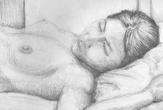 Aktstudie, schlafend - Zeichnungen,  21x29 cm ©2006 von Ralf Czekalla -                                                                                                            Figurative Kunst, Papier, Schwarz-weiß, Akt, Frauen, Körper, Menschen, akt