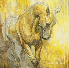 Horse Paintings - Fields of Gold by Silvana Gabudean
