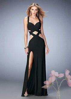 Alluring Illusion Cut Out Black Prom Dress on Sale