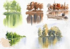 Watercolor reflections exercise water color painting in 2019 Watercolor Pencil Art, Watercolor Water, Watercolor Painting Techniques, Watercolor Projects, Watercolor Trees, Watercolour Tutorials, Painting Lessons, Watercolor Landscape, Painting & Drawing