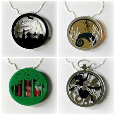 Full acrylic layered pendant necklaces 2 by CuriologyJewellery
