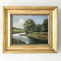 Vintage Art Emporium European Paintings, Danish, Vintage Art, Countryside, Oil On Canvas, River, Landscape, Antiques, Wood